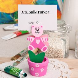 Pink Teddy Bear Flower Pot Place Card or Photo Holder