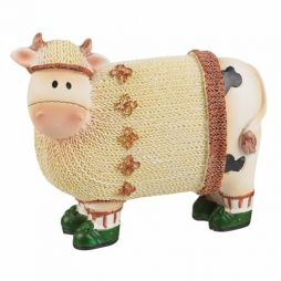 Cream Jumper Cow Figure