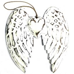 Hand Crafted Double Angel Wing & Heart 24cm