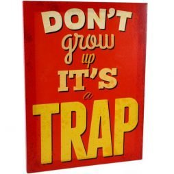 Dont Grow Up Canvas Plaque